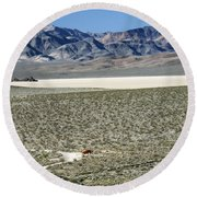 Round Beach Towel featuring the photograph Camped At The End Of The Road by Joe Schofield