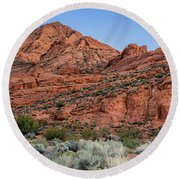 Camper At Red Cliff Campground, Red Round Beach Towel
