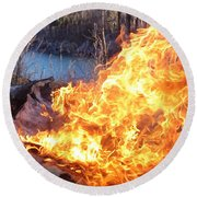 Round Beach Towel featuring the photograph Campfire by James Peterson
