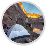Camping Along The Labyrinth Canyon Round Beach Towel