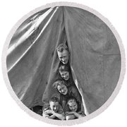 Camping Family Portrait Round Beach Towel
