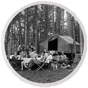 Camping In The Woods Round Beach Towel