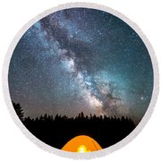 Camping Under The Stars Round Beach Towel