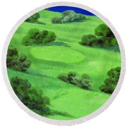 Campo Da Golf Di Notte Round Beach Towel