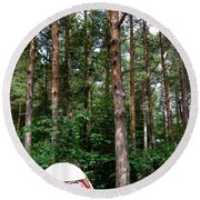 Campsite Near Holland State Park Round Beach Towel