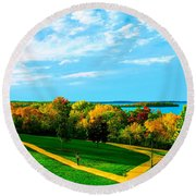Campus Fall Colors Round Beach Towel