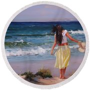 Round Beach Towel featuring the painting Can You Imagine by Laura Lee Zanghetti