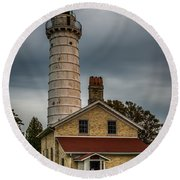 Cana Island Lighthouse By Paul Freidlund Round Beach Towel