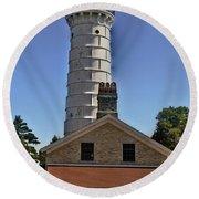 Round Beach Towel featuring the photograph Cana Island Lighthouse by Deborah Klubertanz
