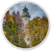 Cana Island Lighthouse II By Paul Freidlund Round Beach Towel