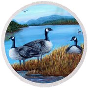 Canada Geese - Lake Lure Round Beach Towel