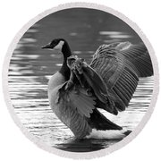 Canada Goose Black And White Round Beach Towel