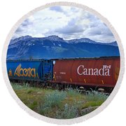 Canadian Freight Train In Jasper #2 Round Beach Towel