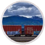 Canadian Freight Train In Jasper Round Beach Towel by Stuart Litoff