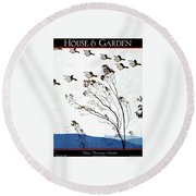 Canadian Geese Over Brown-leafed Trees Round Beach Towel