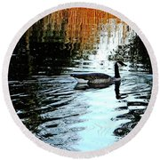 Canadian Goose At Burden  Round Beach Towel