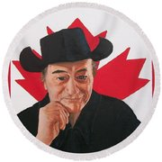 Canadian Icon Stompin' Tom Conners  Round Beach Towel by Sharon Duguay