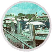 Canal At Pompano Round Beach Towel