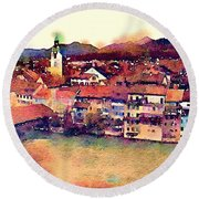 Canal At Thurgau Round Beach Towel by Susan Maxwell Schmidt