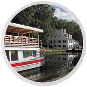 Canal Boat On The C And O Canal At Great Falls Tavern Round Beach Towel