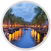 Canal In Amsterdam At Dusk Round Beach Towel