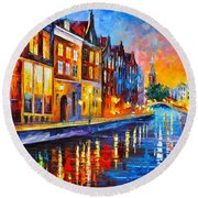 Canal In Amsterdam Round Beach Towel