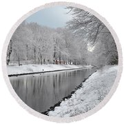 Round Beach Towel featuring the photograph Canal In Winter by Randi Grace Nilsberg
