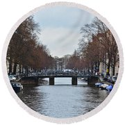 Canals And Boats And Bicycles Round Beach Towel