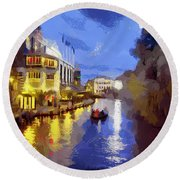 Water Canals Of Amsterdam Round Beach Towel by Georgi Dimitrov
