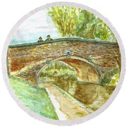 Round Beach Towel featuring the painting Canal-bridal Path In Staffordshire  by Teresa White