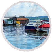 Canandaigua Fishing Shacks Round Beach Towel