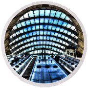 Canary Wharf Station Round Beach Towel by David Pyatt