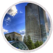 Canary Wharf Station London Round Beach Towel by David Pyatt