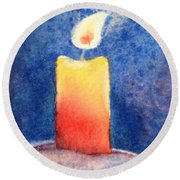 Candle Glow Round Beach Towel by Marilyn Jacobson