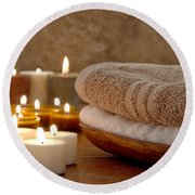 Candles And Towels In A Spa Round Beach Towel