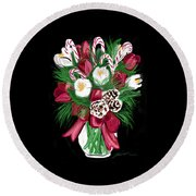 Candy Cane Bouquet Round Beach Towel