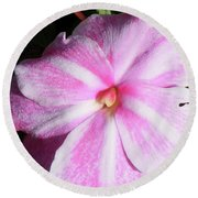 Round Beach Towel featuring the photograph Candy Cane Impatiens by Barbara Griffin