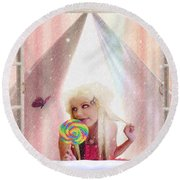 Round Beach Towel featuring the digital art Candy Kisses by Liane Wright