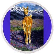 Candy Rocky Mountain Palomino Colt Round Beach Towel