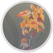 Canna Round Beach Towel by Pamela  Meredith