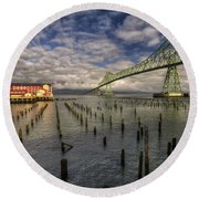 Cannery Pier Hotel And Astoria Bridge Round Beach Towel