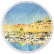 Cannes Harbour Round Beach Towel