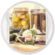 Canning Kitchen Art Round Beach Towel