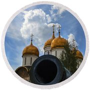 Cannon And Cathedral  - Russia Round Beach Towel