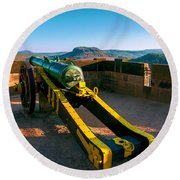 Cannon At The Fortress Koenigstein Round Beach Towel