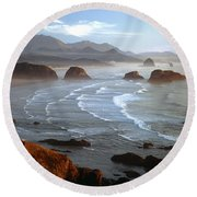 Cannon Beach At Sunset Round Beach Towel