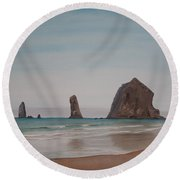 Cannon Beach Haystack Rock Round Beach Towel