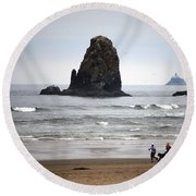 Cannon Beach Run Round Beach Towel by Sharon Elliott