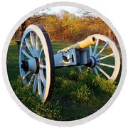Cannon In The Grass Round Beach Towel by Michael Porchik