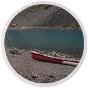 Canoe At Moraine Lake Round Beach Towel by Cheryl Miller